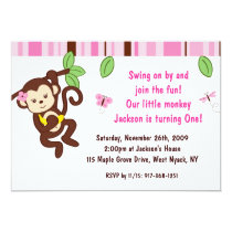 Girl Monkey Jungle Custom Birthday Invitation