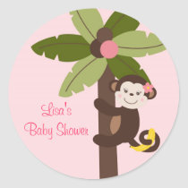 Girl Monkey Jungle Envelope Seals Stickers