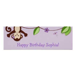 Girl Monkey Jungle Personalized Birthday Banner Posters