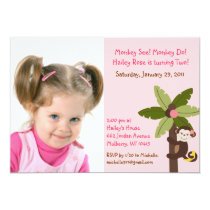 Girl Monkey Jungle Photo Birthday Invitations