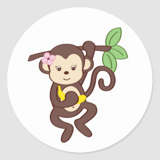Girl Monkey Jungle Shower Stickers Envelope Seals
