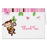 Girl Monkey Jungle Thank You Note Cards