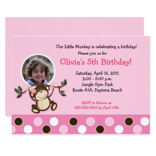 Girl Monkey Photo Birthday Template Invite