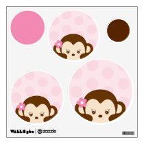 Girl Monkey Polka Dot Nursery Wall Stickers Decals
