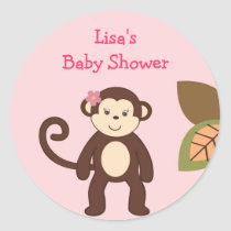 Girl Monkey Safari Jungle Envelope Seals Stickers