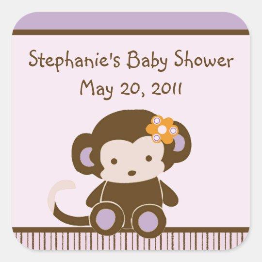Girl Monkey Stickers/Labels/Envelope Seals