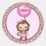 GIRL MONKEY Tu Tu Baby Shower balloon sticker #3