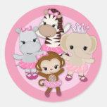 GIRL MONKEY Tu Tu Cute Baby Shower sticker/seal #1 Classic Round Sticker