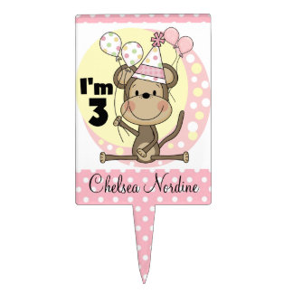 Girl Monkey With Balloons 3rd Birthday Cake Topper