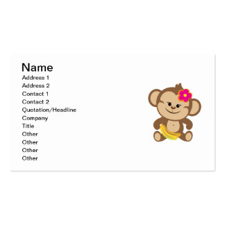Girl Monkey With Banana Business Card Templates