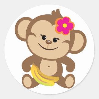Girl Monkey With Banana Classic Round Sticker
