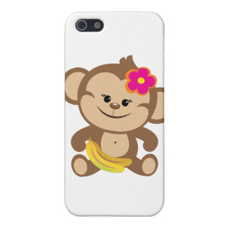 Girl Monkey With Banana Cover For iPhone SE/5/5s