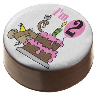 Girl Monkey With Cake 2nd Birthday Dipped Oreos Chocolate Dipped Oreo