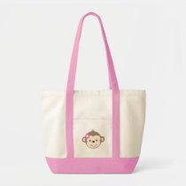 Girl Monkey with flower pink/white diaper Bag