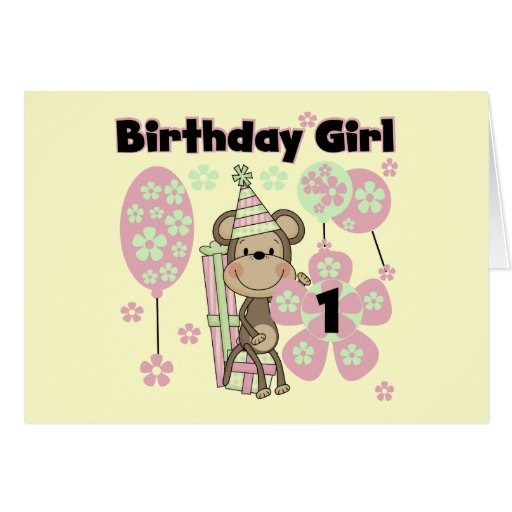 Girl Monkey With Gifts 1st Birthday Tshirts Greeting Card