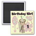 Girl Monkey With Gifts 1st Birthday Tshirts Magnets