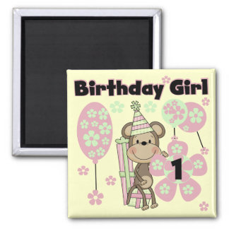 Girl Monkey With Gifts 1st Birthday Tshirts Magnet