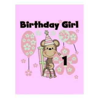 Girl Monkey With Gifts 1st Birthday Tshirts Postcard