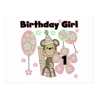 Girl Monkey With Gifts 1st Birthday Tshirts Postcard