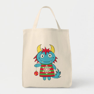 Girl Monster with Ornament Canvas Bags
