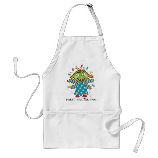 Girl Monster with Xmas lights Adult Apron