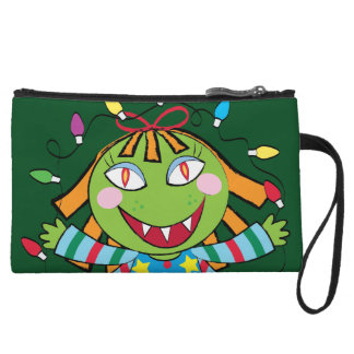 Girl Monster with Xmas lights Wristlet Purse