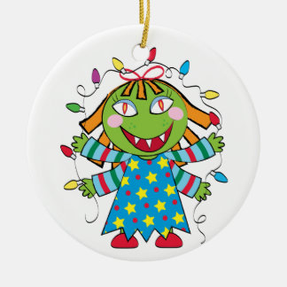 Girl Monster with Xmas lights Ceramic Ornament