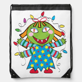 Girl Monster with Xmas lights Drawstring Backpack