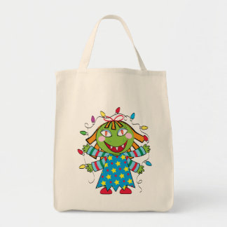 Girl Monster with Xmas lights Tote Bag