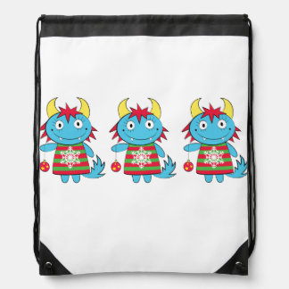 Girl Monsters with Ornaments Drawstring Backpack