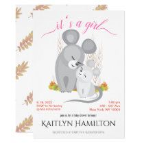 Girl Mouse Mother Baby Shower Mice Woodland Maple Invitation