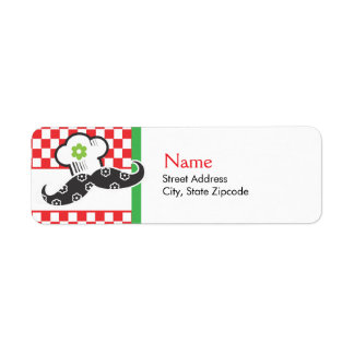 Girl Moustache Chef Address Label