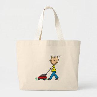 Girl Mowing Grass Bag