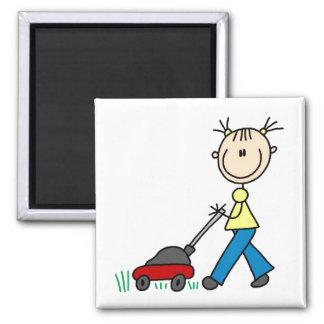 Girl Mowing Grass Magnet