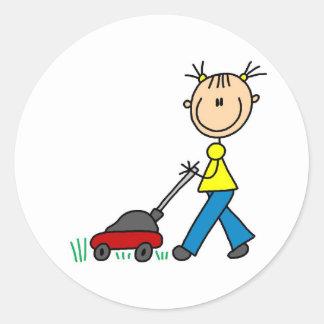 Girl Mowing Grass Sticker