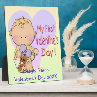 Girl My 1st Valentine's Day  Plaque With Easel