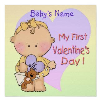 "Girl My 1st Valentine's Day Poster 20""x20"""