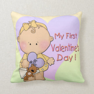 Girl My 1st Valentine's Day  Throw Pillow