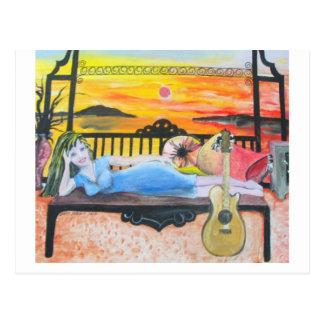 Girl N a Guitar Postcard
