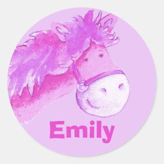 "Girl name ""Emily"" pink pony horse sticker Round Sticker"