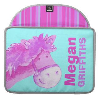 "Girl name pony pink aqua MacBook Air 15"" Flap Case MacBook Pro Sleeves"