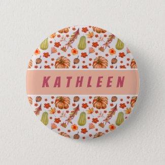 Girl Name Pumpkins Pattern Watercolor Orange Button