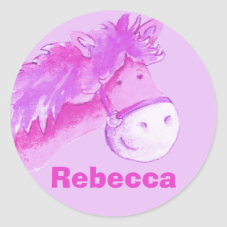 "Girl name ""Rebecca"" pink pony horse sticker"