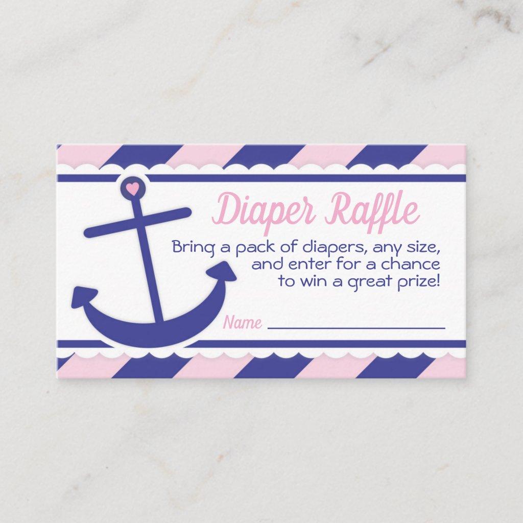 Girl Nautical Anchor Baby Shower Diaper Raffle Enclosure Card