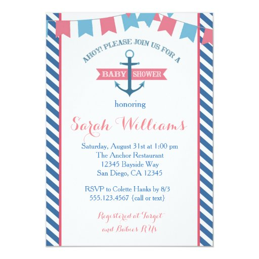 Girl Nautical Baby Shower Invitation Pink and Blue