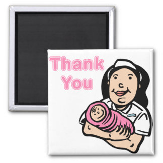 girl nurse thank you 2 inch square magnet