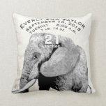 Girl Nursery Baby Birth Stat Elephant Arrows Throw Pillow