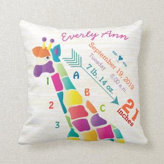 Girl Nursery Baby Birth Stat Giraffe Arrow Pattern Pillow