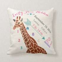 Girl Nursery Baby Birth Stat Giraffe Arrow Pattern Throw Pillow