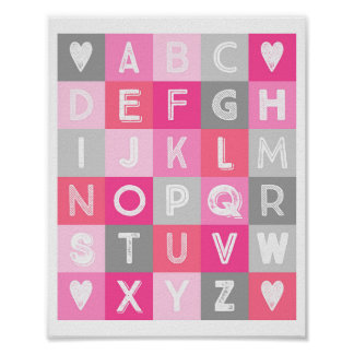 Pink And Grey Nursery Decor Posters Zazzle - Pink and grey nursery decor